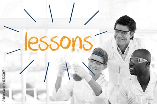 Lessons against scientists working in laboratory