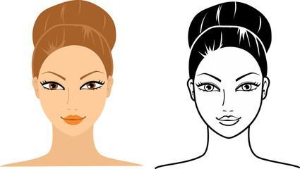 Set of female beauty heads