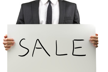 Businessman promoting a Sale