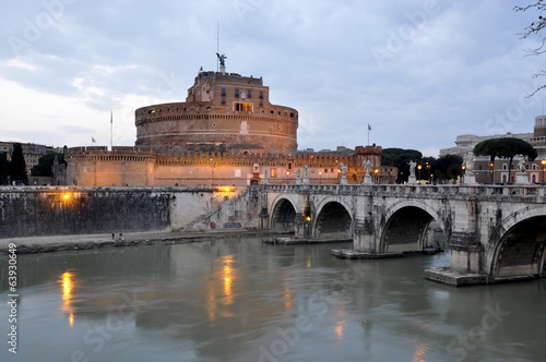 St Angelo Castle in Rome at evening