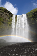 Double rainbow at waterfall