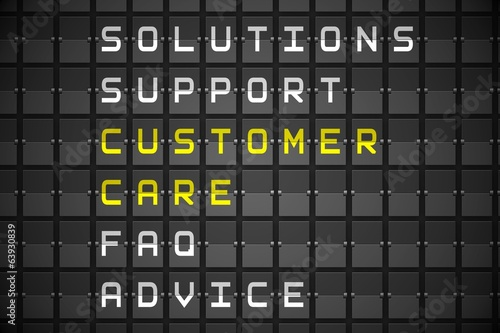 Customer care buzzwords on black mechanical board