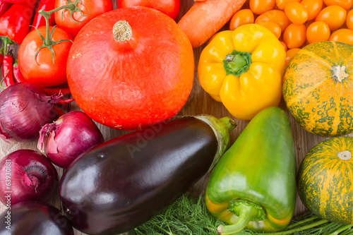 fresh colorful vegetables on a table