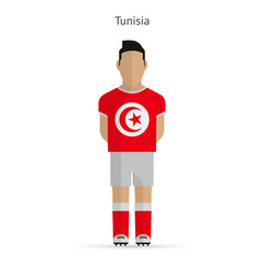 Tunisia football player. Soccer uniform.