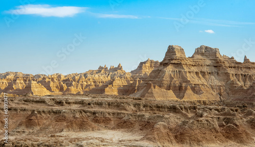 Beautiful scenery of the erosion formations in Badlands National