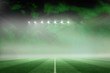 canvas print picture - Football pitch under green sky