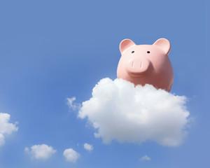 Piggy bank flying free