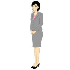 働く女性 全身 スーツ