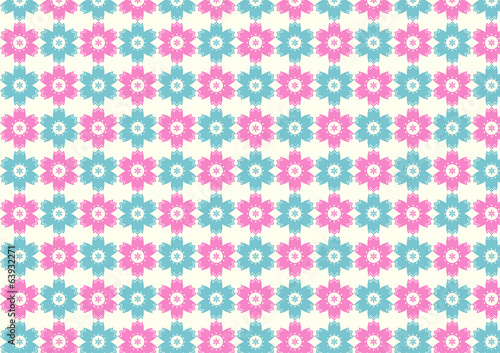 Vintage Flower and Small Circle Pattern on Pastel Background