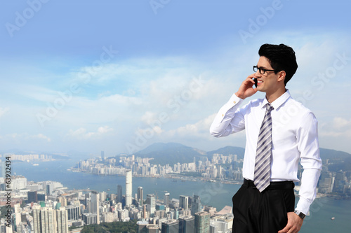 business men call by smart phone