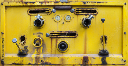yellow color old dirty of switch tool water pump on liquid tank