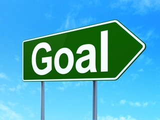 Marketing concept: Goal on road sign background