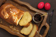 Easter sweet brioche on wooden tray