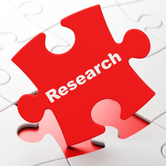 Marketing concept: Research on puzzle background