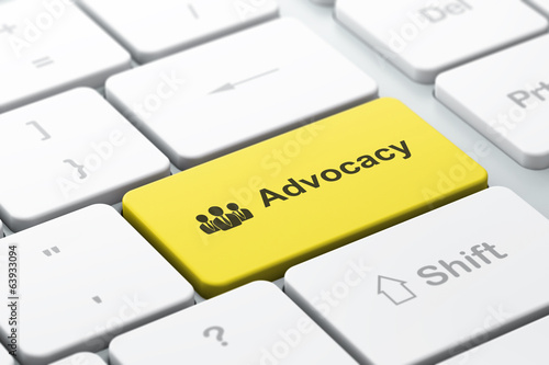 Law concept: Business People and Advocacy on computer keyboard