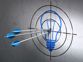 Business concept: arrows in Light Bulb target on wall background