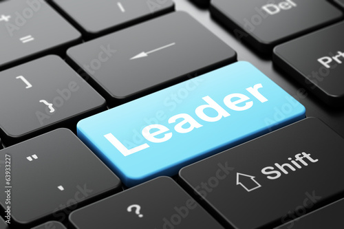 Business concept: Leader on computer keyboard background