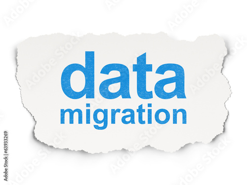 Information concept: Data Migration on Paper background