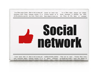 Social media concept: newspaper with Social Network and Thumb Up