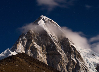 Himalayas at night. Mt. Pumori (Pumo Ri). Everest region, Nepal
