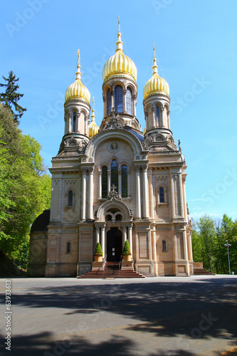 canvas print picture Wiesbaden, Russisch-Orthodoxe Kirche (April 2014)
