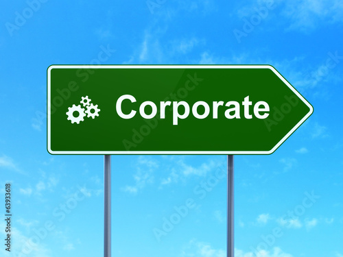 Business concept: Corporate and Gears on road sign background