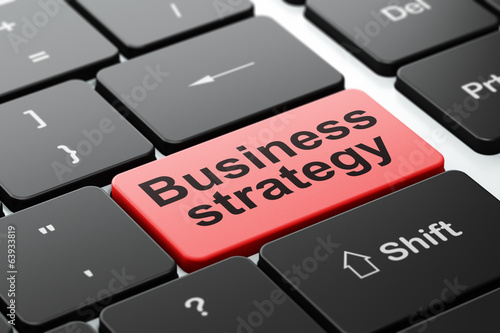 Business concept: Business Strategy on computer keyboard