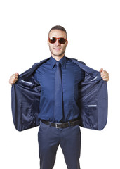 businessman with opened jacket