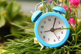 Classic alarm clock with pink flowers and grass