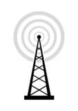 Black transmitter icon on white background