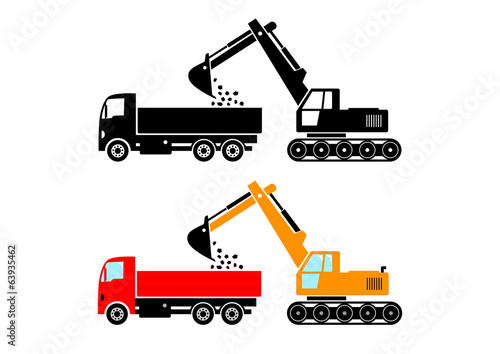 Truck and excavator on white background