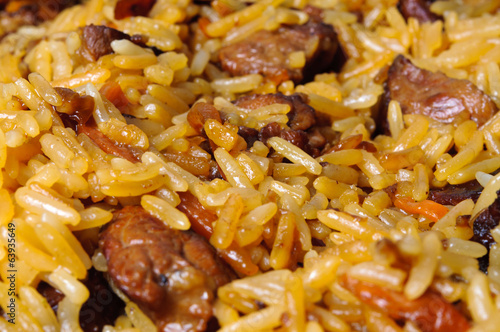 Pilau (pilaw, plov) - a rice and meat meal macro