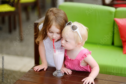 Two sisters drinking milkshake