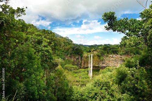 Scenic Chamarel falls in jungle of Mauritius