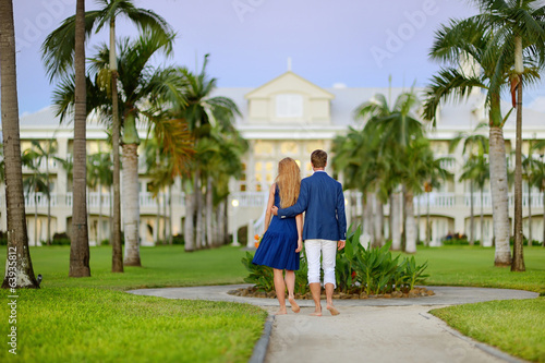 Young couple on a tropical resort
