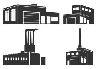 Set of silhouettes of industrial buildings.