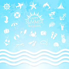 happy summer holiday sea icons