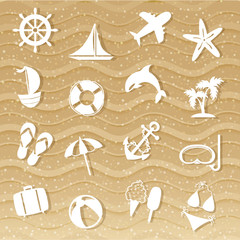 Beach with sea icons