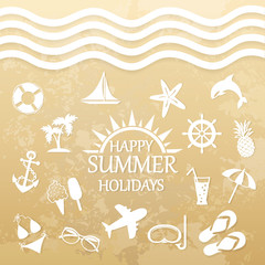 happy summer holiday, icons for summer