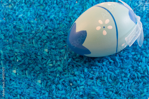 Easter egg in Blue background