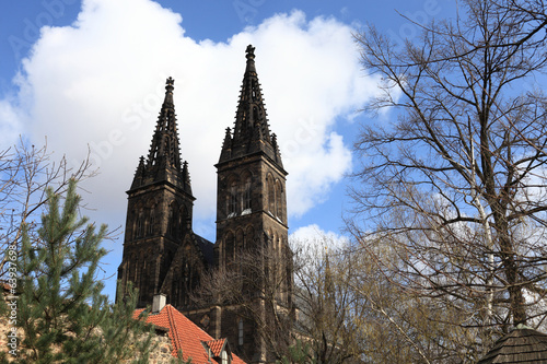 Landscape of basilica in Vysehrad