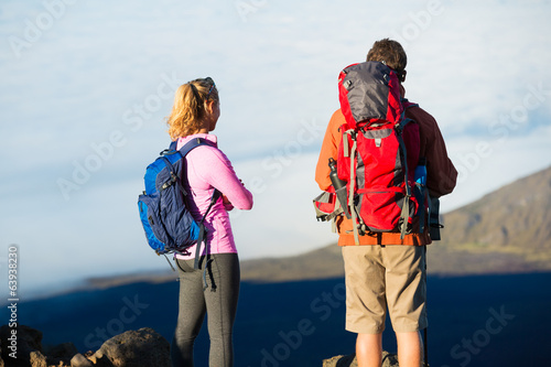 Hikers enjoying the view from the mountain top