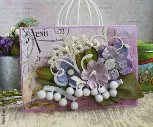 Purple and green handmade card with flowers