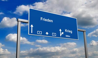 Autobahnschild Frieden
