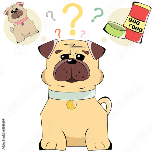 Illustration of cartoon character dogs and food isolated in whit