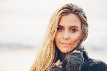 Portrait of the beautiful girl amazing eyes