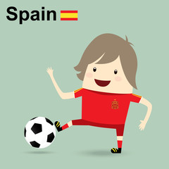 spain national football team, businessman happy is playing socce