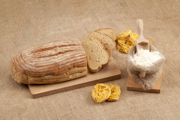 bread, pasta and flour