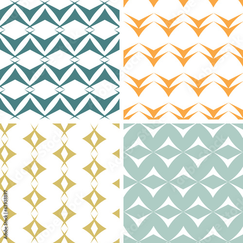Four abstract arrow shapes seamless patterns set