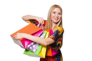 Young woman after shopping isolated on the white